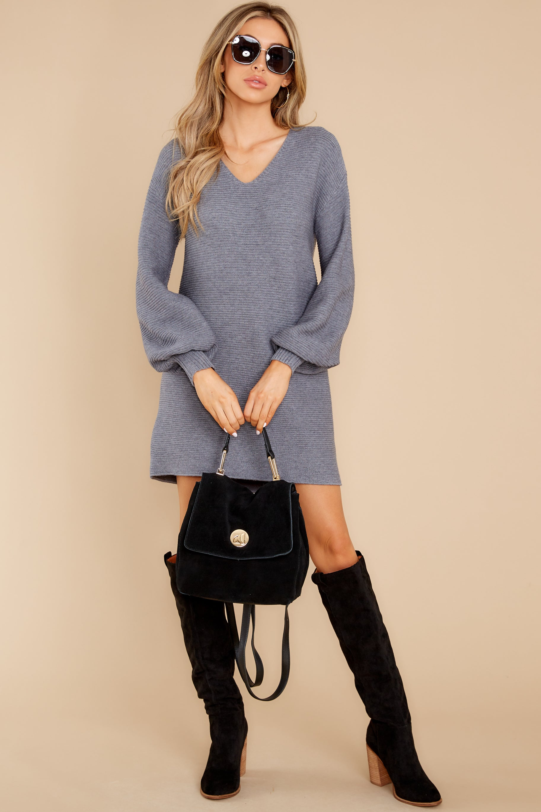2 Collected Thoughts Charcoal Sweater Dress at reddress.com