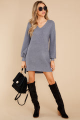 4 Collected Thoughts Charcoal Sweater Dress at reddress.com