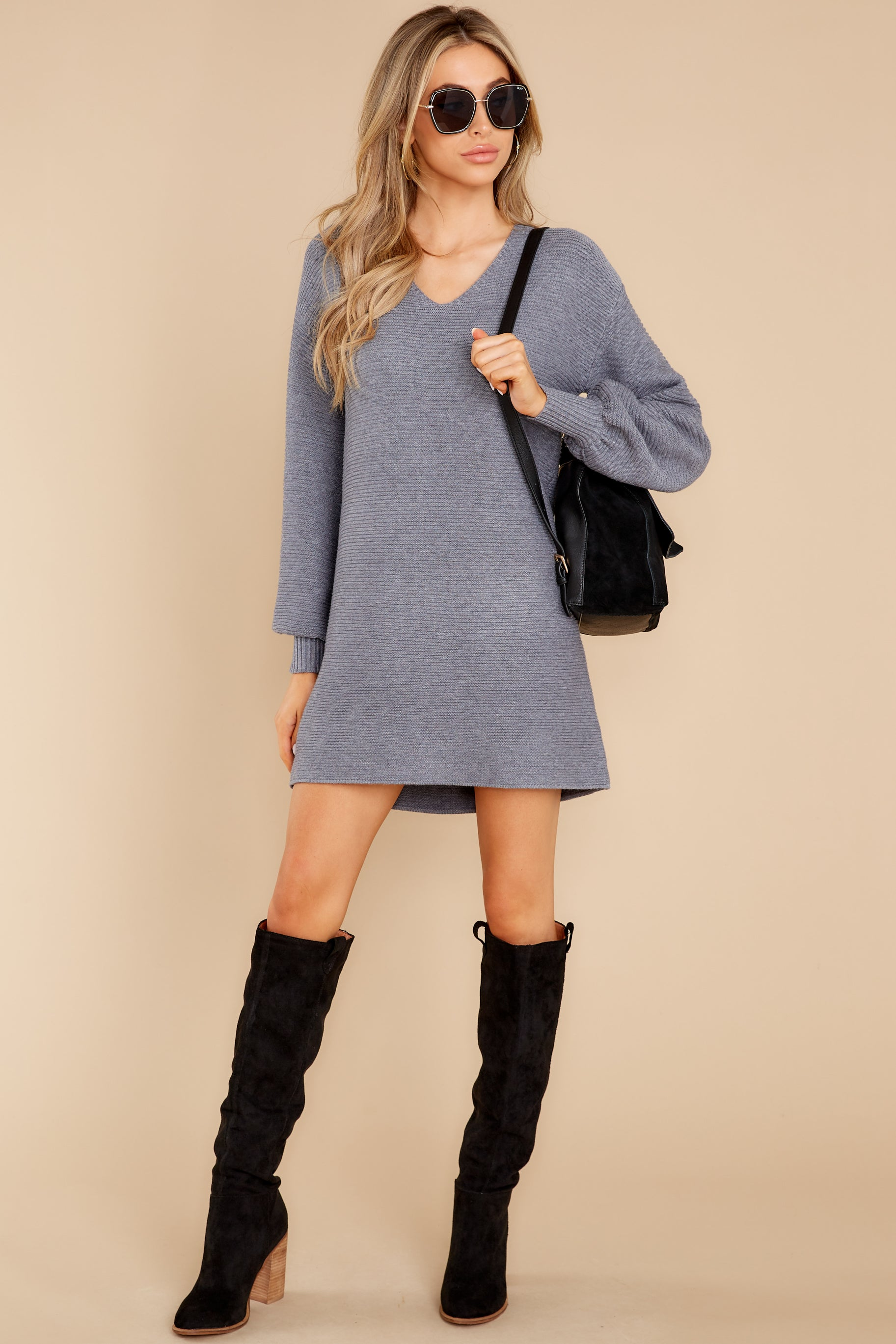 3 Collected Thoughts Charcoal Sweater Dress at reddress.com