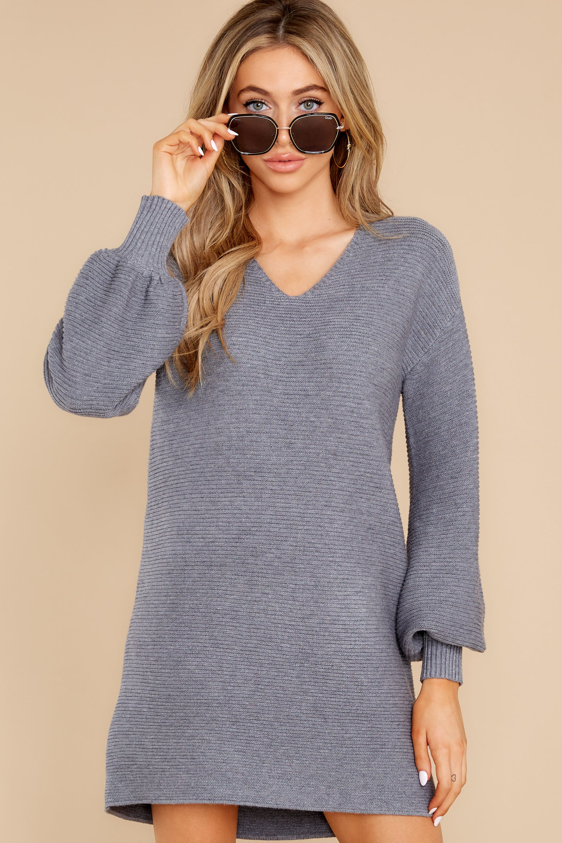 6 Collected Thoughts Charcoal Sweater Dress at reddress.com