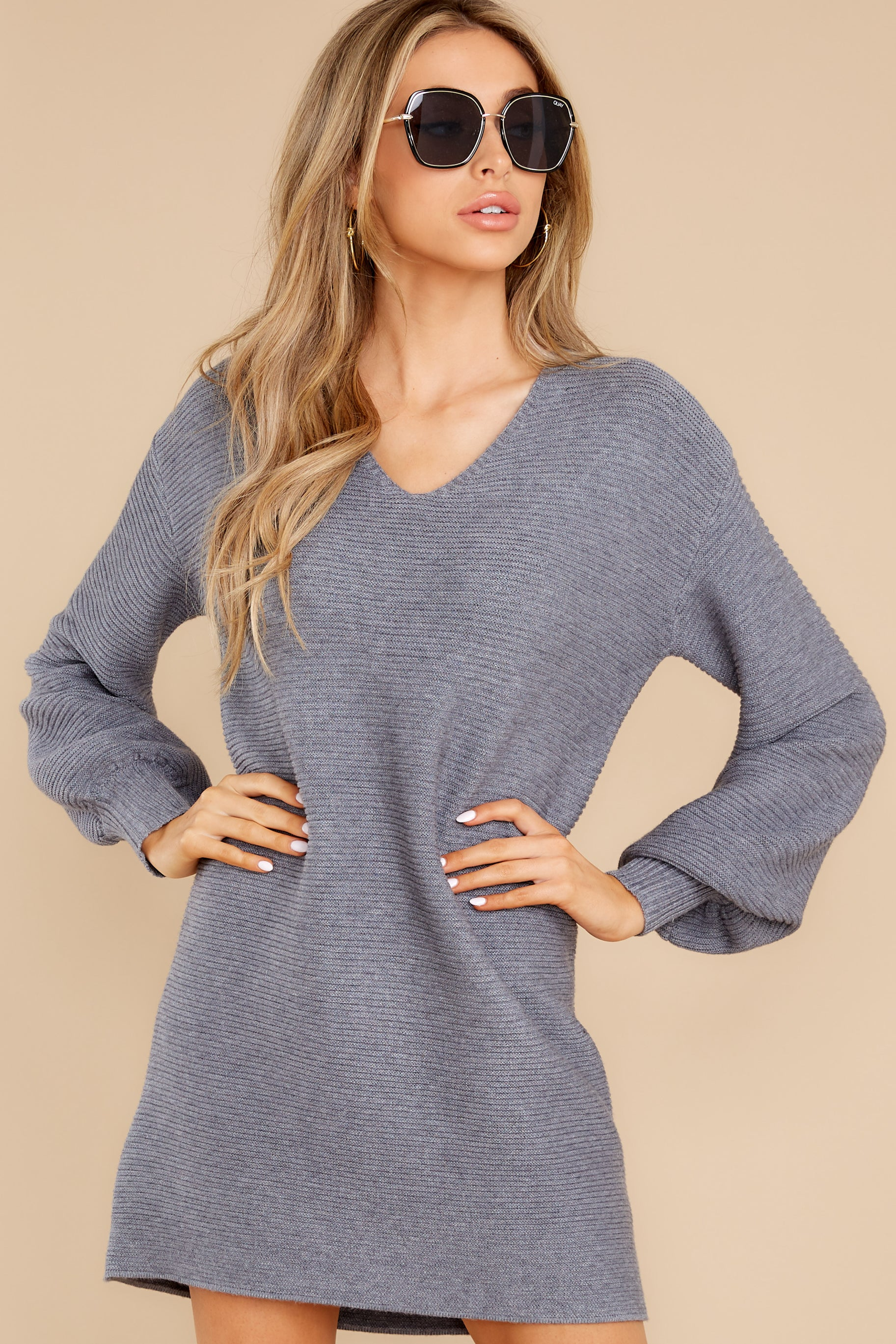 7 Collected Thoughts Charcoal Sweater Dress at reddress.com
