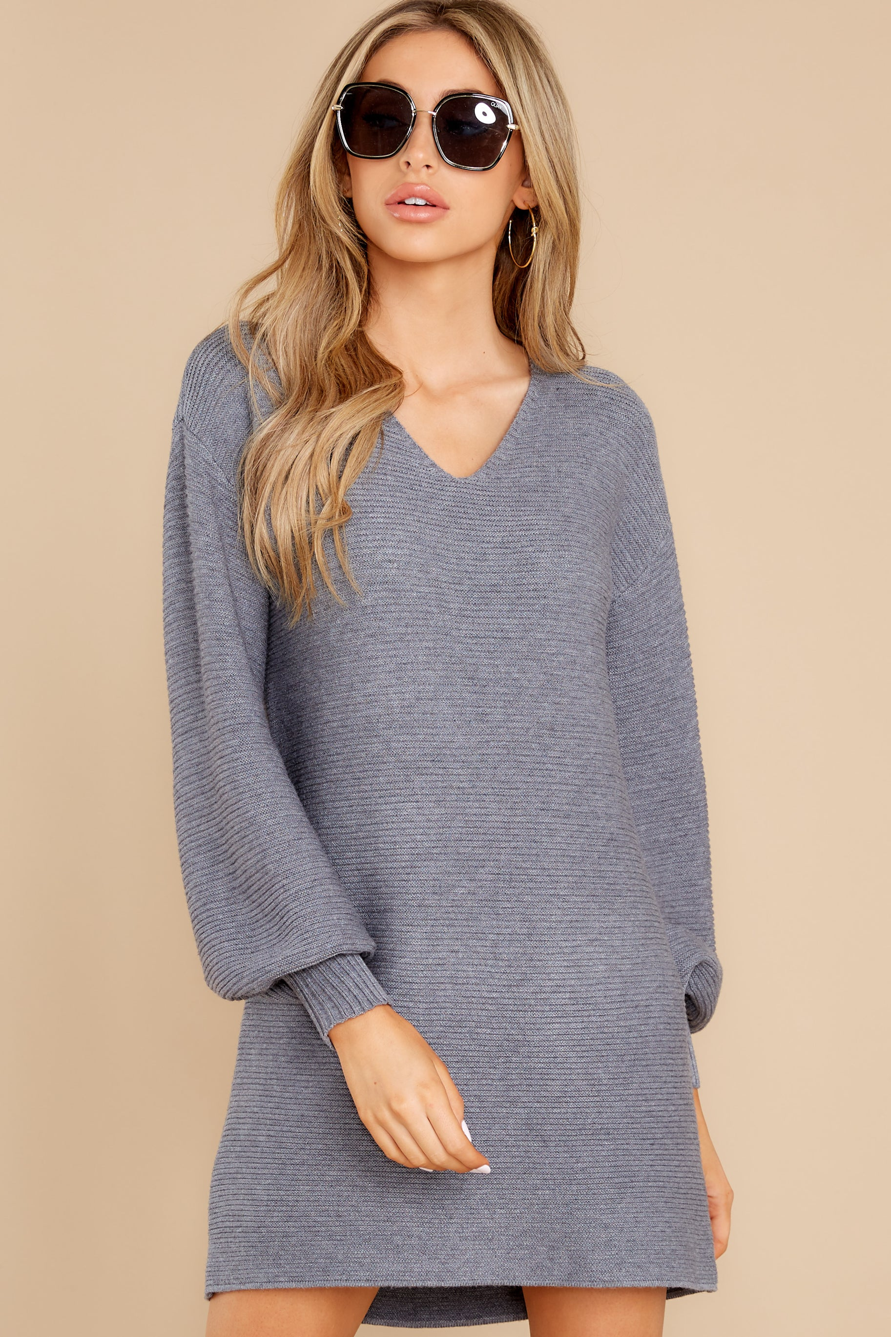 5 Collected Thoughts Charcoal Sweater Dress at reddress.com