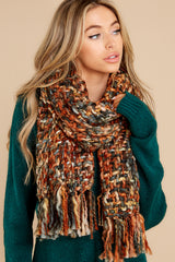 2 Around The Fire Rust And Black Multi Knit Scarf at reddress.com