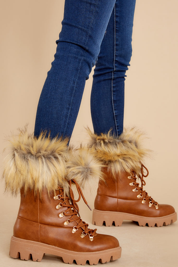 1 Melt The Snow Cognac Vegan Fur Boots at reddress.com