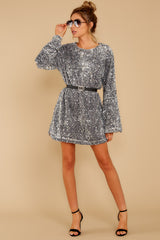 3 Into The Night Silver Sequin Dress at reddressboutique.com