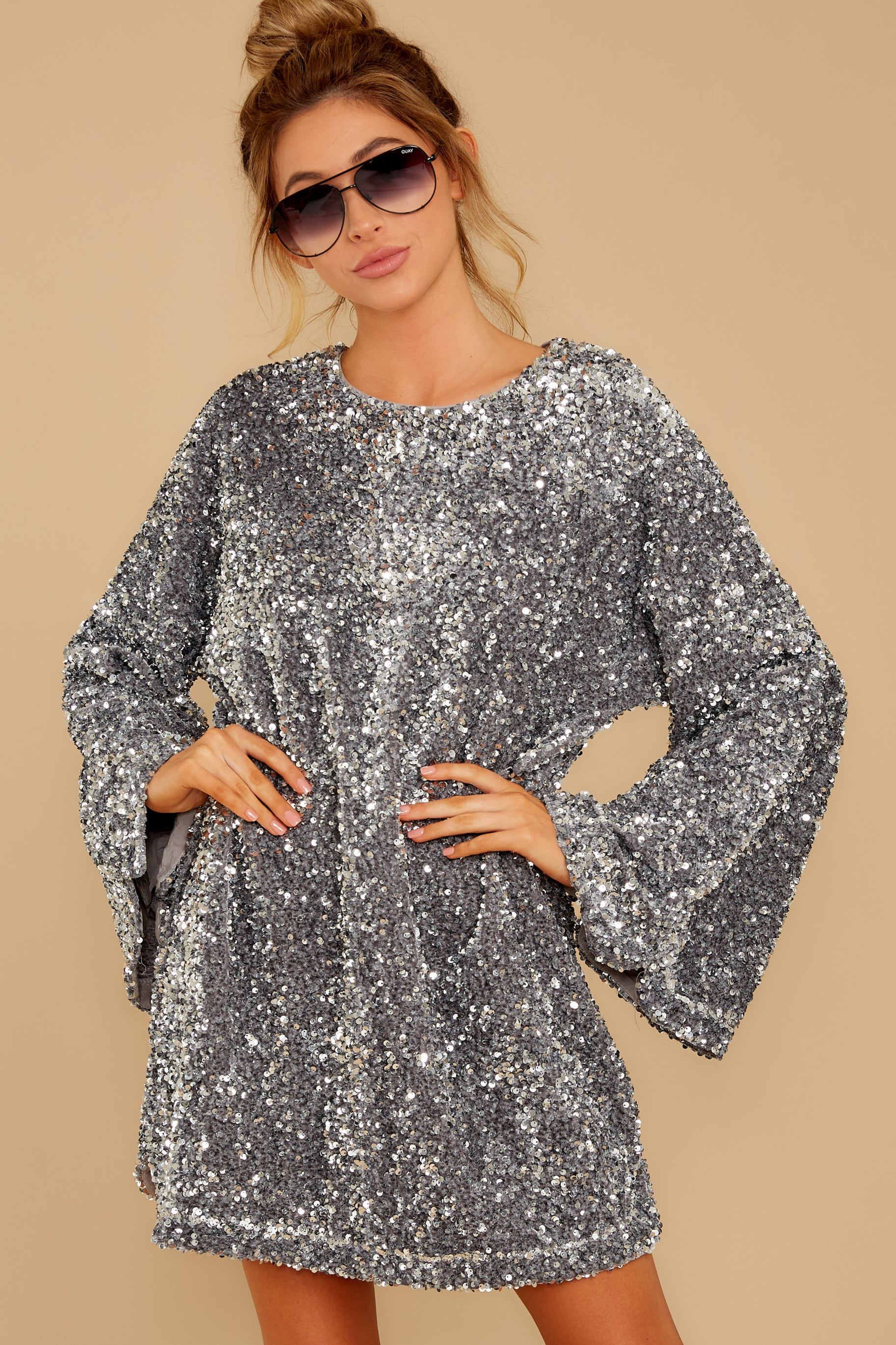 6 Into The Night Silver Sequin Dress at reddressboutique.com