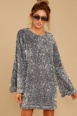 7 Into The Night Silver Sequin Dress at reddressboutique.com