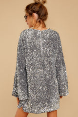 8 Into The Night Silver Sequin Dress at reddressboutique.com