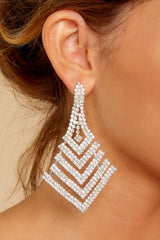 1 Nice Ice Silver Statement Earrings at reddressboutique.com