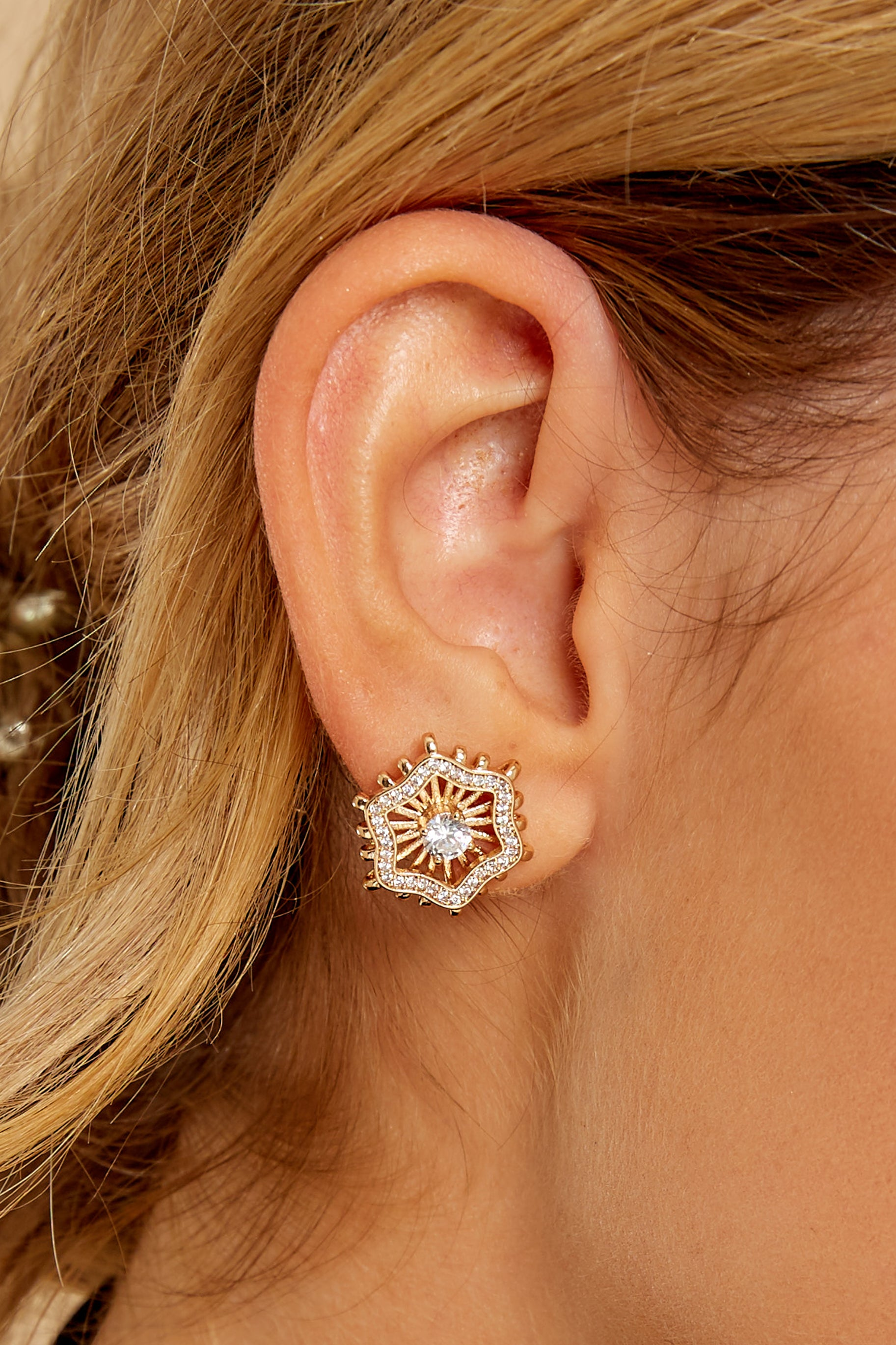 1 Chloe Gold Stud Earrings at reddressboutique.com