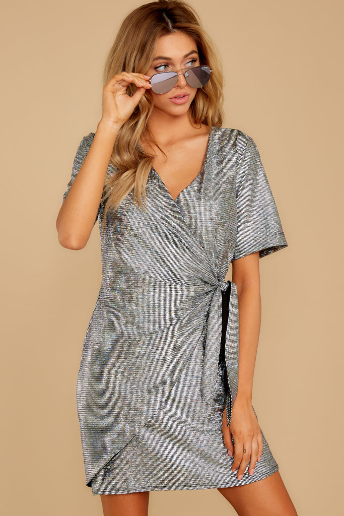 3 Up All Night Silver Holographic Tank Top at reddressboutique.com