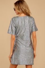 8 Won't Forget Me Silver Holographic Dress at reddressboutique.com