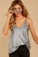 5 Up All Night Silver Holographic Tank Top at reddressboutique.com