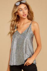 7 Up All Night Silver Holographic Tank Top at reddressboutique.com