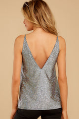 8 Up All Night Silver Holographic Tank Top at reddressboutique.com