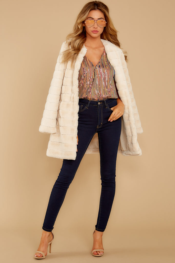 1 Lost In London Ivory Faux Fur Coat at reddressboutique.com