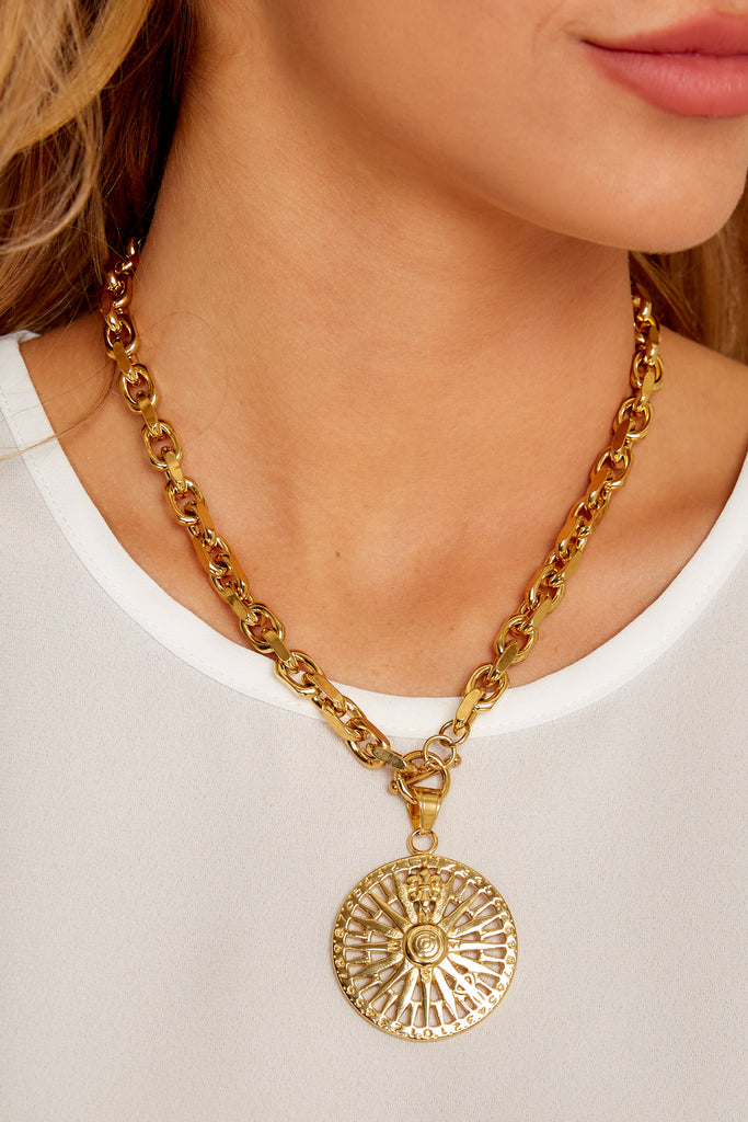 1 Rope Gold Layering Necklace at reddress.com