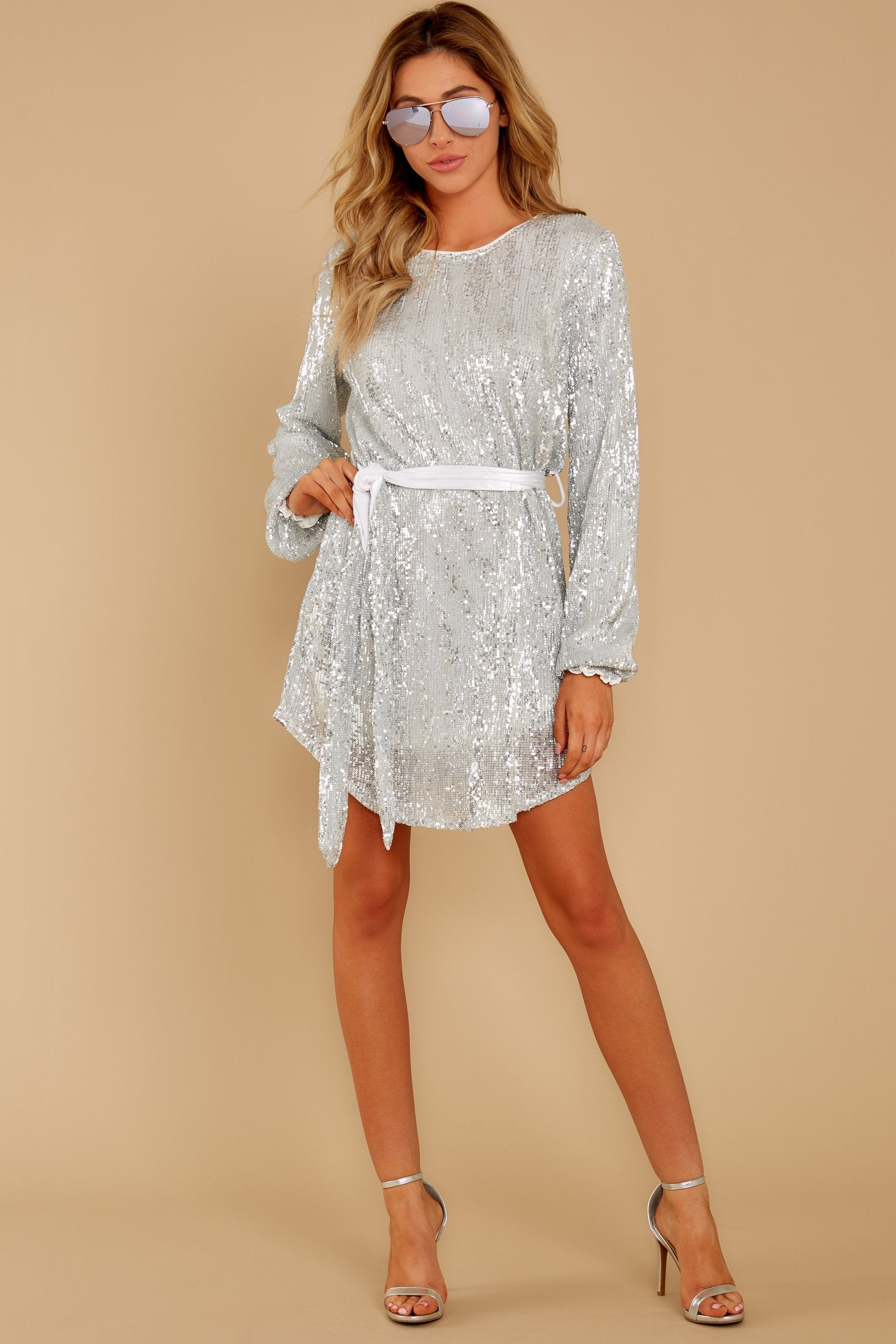 2 Raise A Glass Silver Sequin Dress at reddressboutique.com