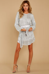 4 Raise A Glass Silver Sequin Dress at reddressboutique.com