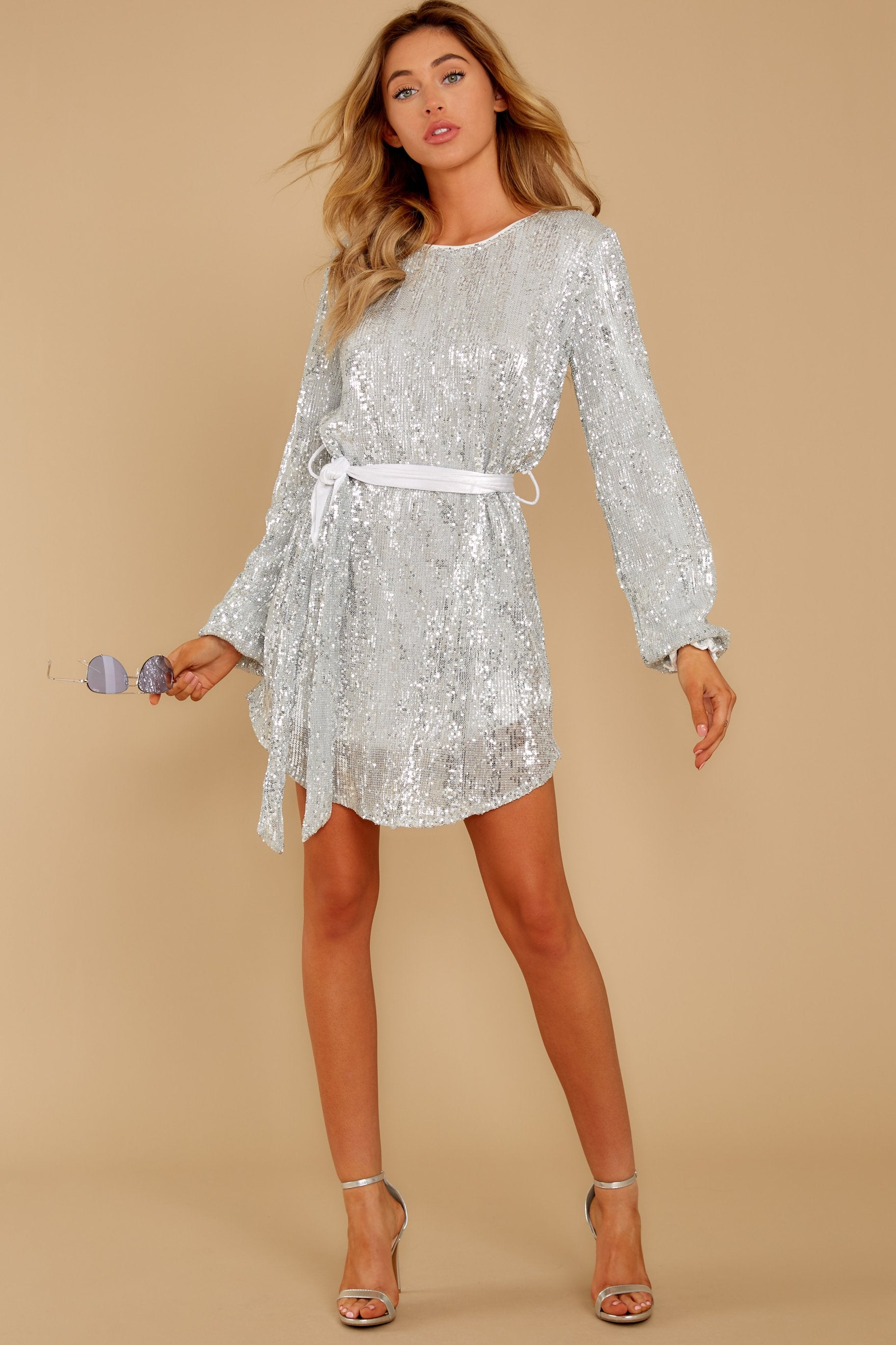 1 Raise A Glass Silver Sequin Dress at reddressboutique.com