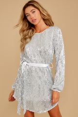 6 Raise A Glass Silver Sequin Dress at reddressboutique.com