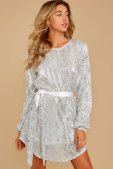 7 Raise A Glass Silver Sequin Dress at reddressboutique.com