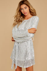 8 Raise A Glass Silver Sequin Dress at reddressboutique.com