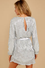 9 Raise A Glass Silver Sequin Dress at reddressboutique.com