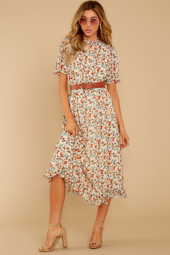 First Impressions Goldenrod Multi Floral Print Midi Dress