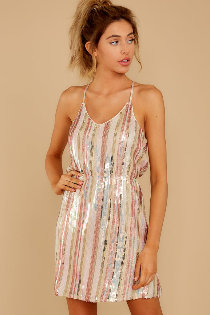 1 Shimmering Rainbows Pink Multi Stripe Sequin Dress at reddressboutique.com
