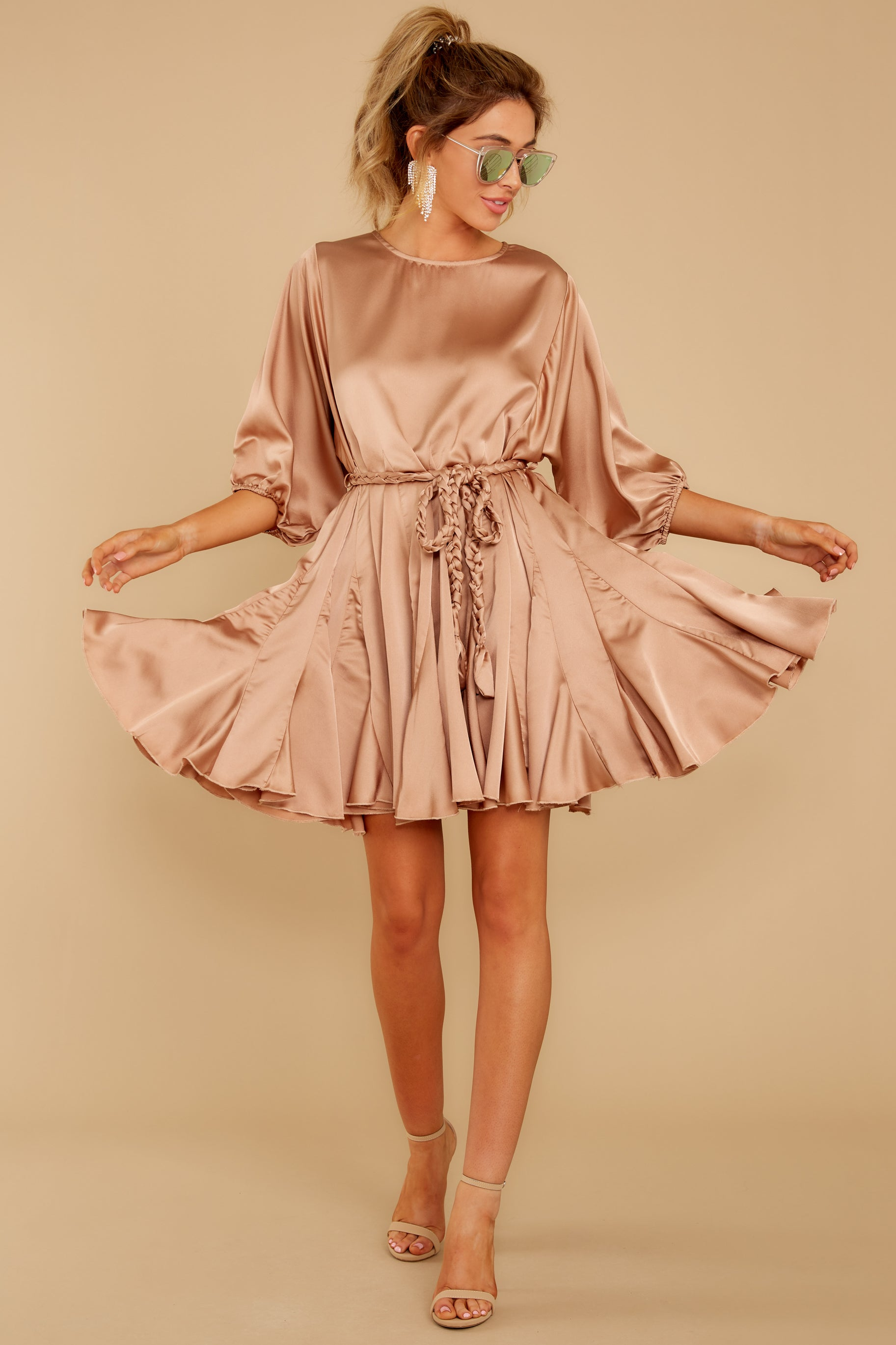 3 Kiss Goodnight Gold Champagne Dress at reddressboutique.com