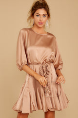 7 Kiss Goodnight Gold Champagne Dress at reddressboutique.com