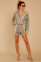 1 Don't Mind Me Multi Stripe Sequin Romper at reddressboutique.com