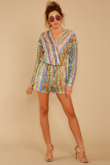 2 Don't Mind Me Multi Stripe Sequin Romper at reddressboutique.com