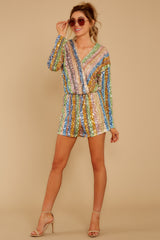 3 Don't Mind Me Multi Stripe Sequin Romper at reddressboutique.com