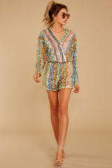 4 Don't Mind Me Multi Stripe Sequin Romper at reddressboutique.com