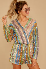 5 Don't Mind Me Multi Stripe Sequin Romper at reddressboutique.com