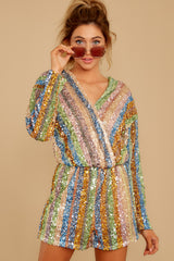 6 Don't Mind Me Multi Stripe Sequin Romper at reddressboutique.com