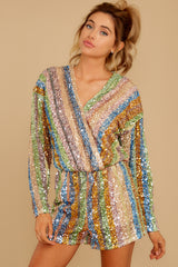 8 Don't Mind Me Multi Stripe Sequin Romper at reddressboutique.com