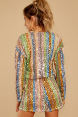9 Don't Mind Me Multi Stripe Sequin Romper at reddressboutique.com