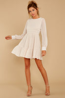 Fall Gathered Button Closure Hidden Back Zipper Round Neck Sheer Sleeves Dress With Pearls