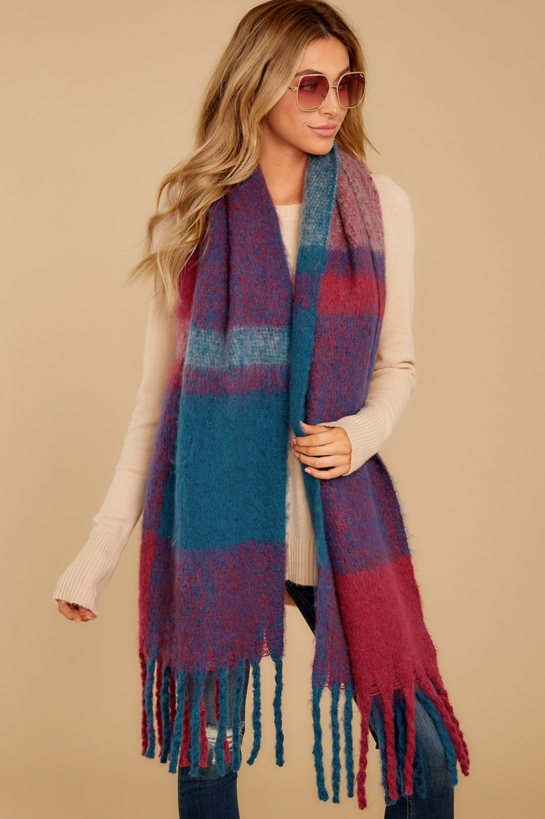 2 Wrapped In Warmth Burgundy Multi Scarf at reddressboutique.com