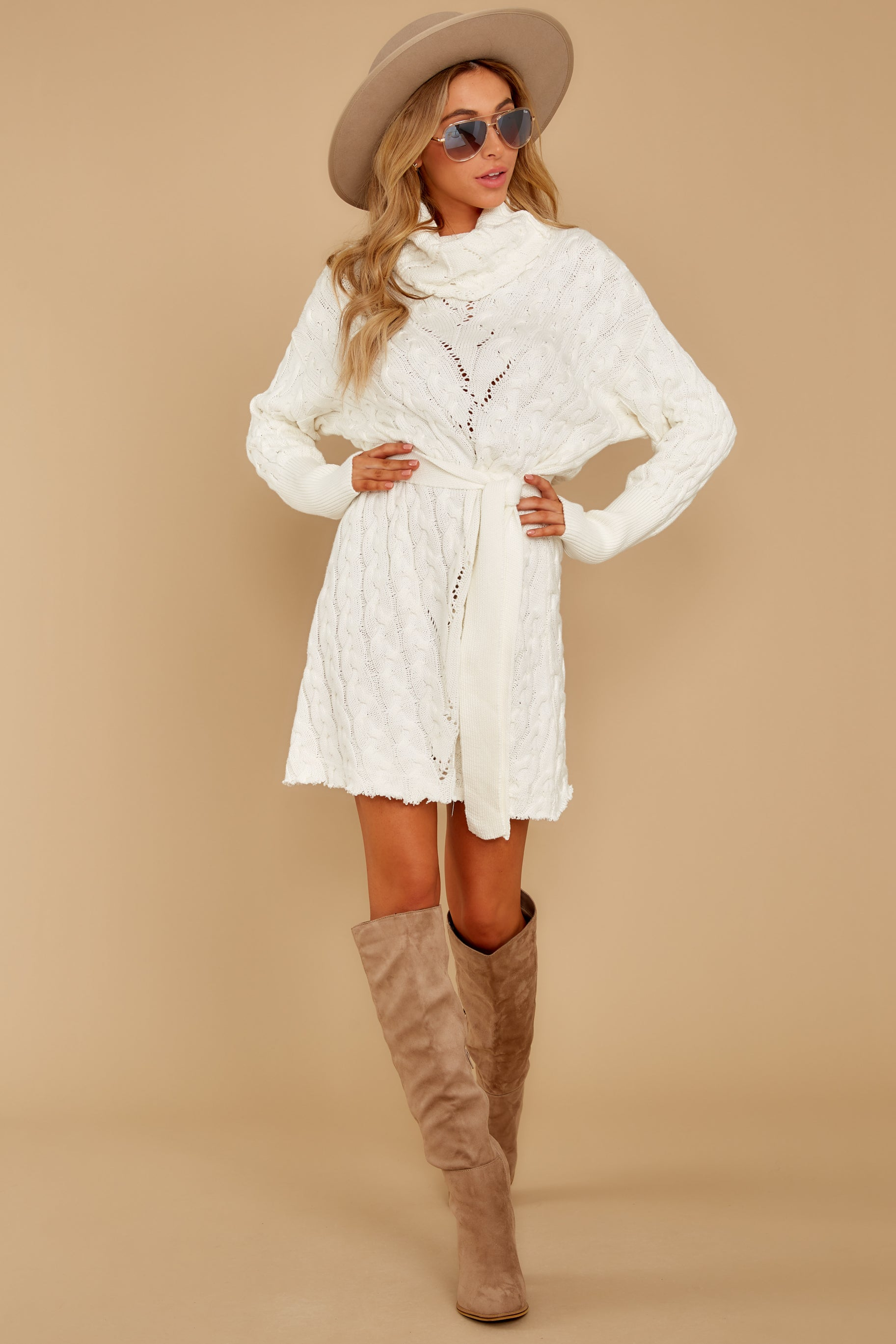 8 Ready Willing And Cable Knit Ivory Sweater Dress at reddressboutique.com