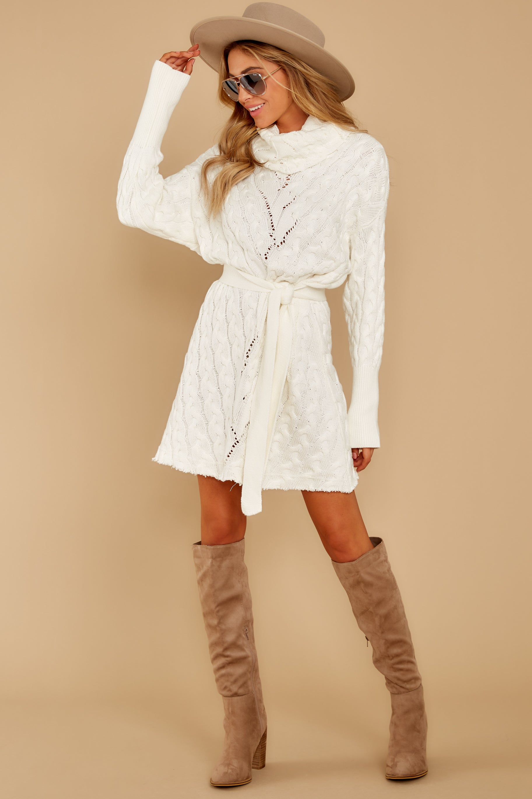9 Ready Willing And Cable Knit Ivory Sweater Dress at reddressboutique.com
