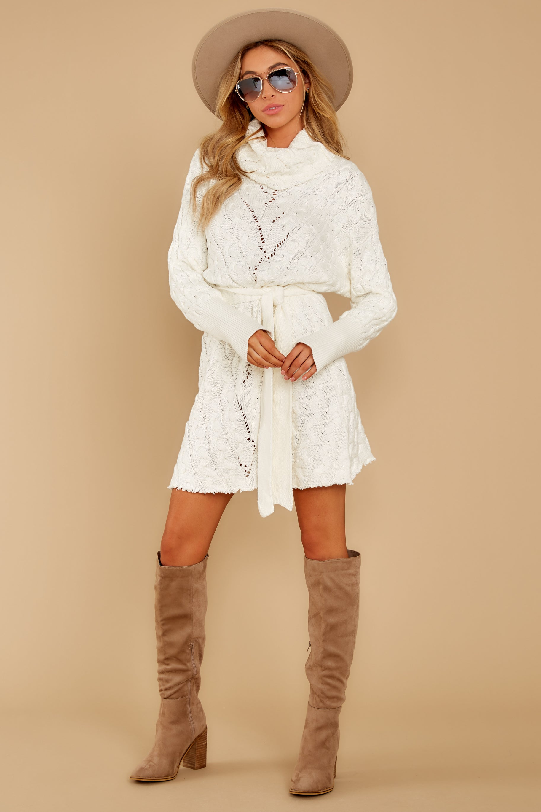 10 Ready Willing And Cable Knit Ivory Sweater Dress at reddressboutique.com