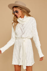 11 Ready Willing And Cable Knit Ivory Sweater Dress at reddressboutique.com