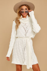 7 Ready Willing And Cable Knit Ivory Sweater Dress at reddressboutique.com