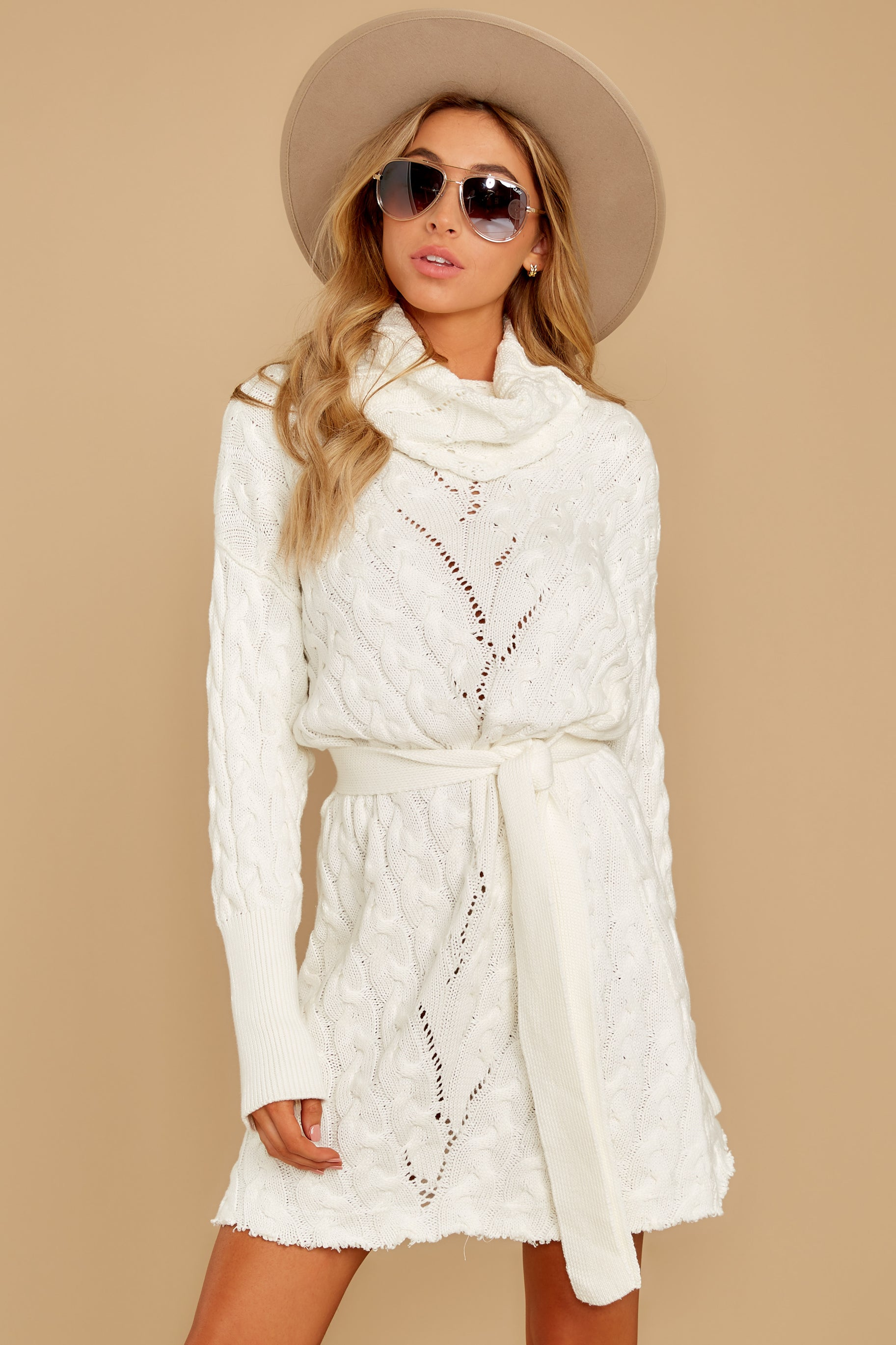 Ready Willing And Cable Knit Ivory Sweater Dress