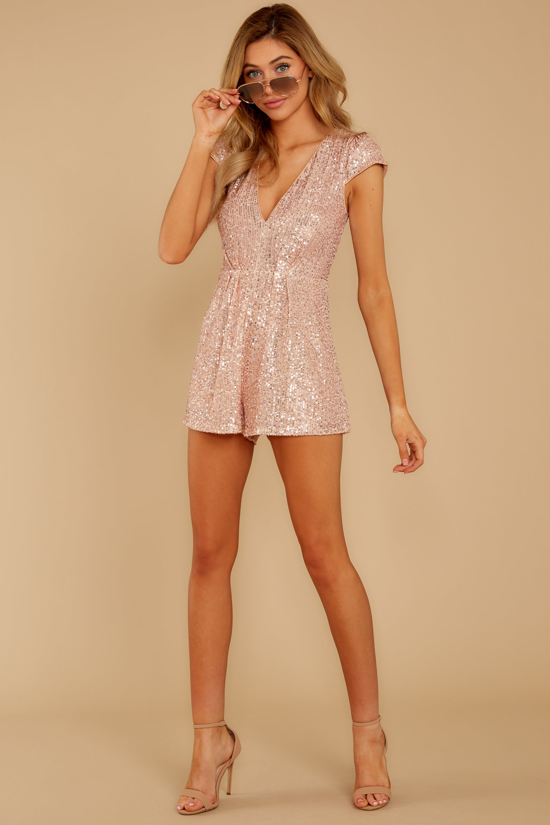 1 Night Life Rose Gold Sequin Romper at reddressboutique.com