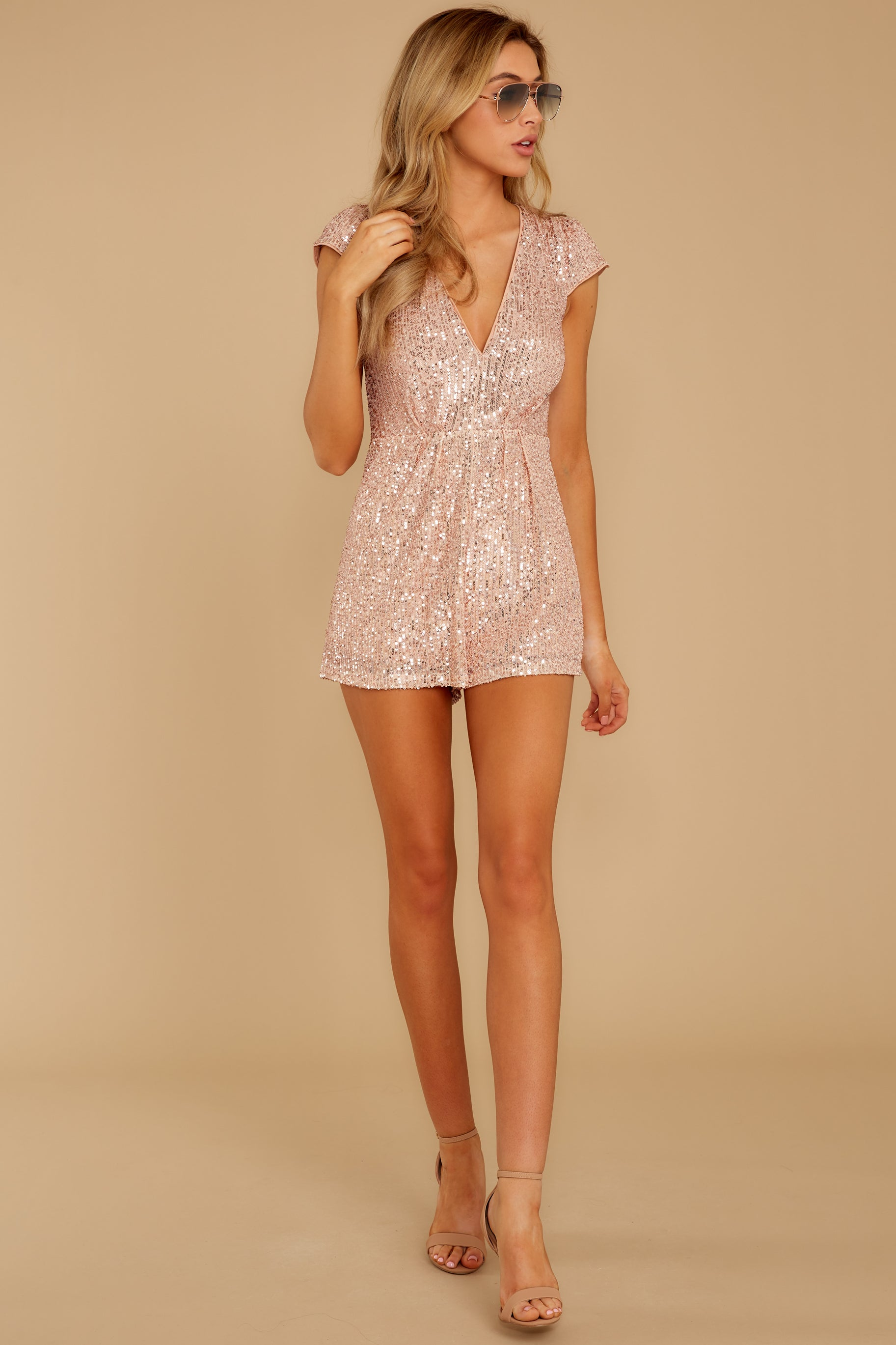 2 Night Life Rose Gold Sequin Romper at reddressboutique.com